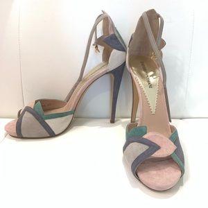 EMPORIO ARMANI Suede Multi Color Sandals Sz 40